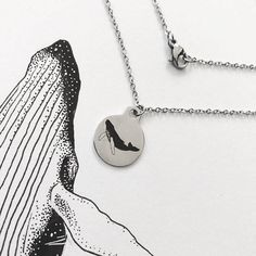 Stainless Steel Humpback Whale Necklace - Original Design by Kohola Kai Creative on Etsy!    Unique piece of whale jewelry for all those salty souls     #etsy #giftsforher #giftidea #whale #humpbackwhale #whales #ocean #nature #steel #etsyshop