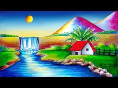 Easy Scenery Drawing-Simple Scenery Drawing-Step by Step Scenery Drawing Pencil, Beautiful Scenery Drawing, Easy Scenery Drawing, Beautiful Scenery Pictures, Nature Drawing For Kids, Art Drawings For Kids, Easy Drawings, Landscape Drawings, Abstract Landscape