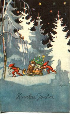 Vintage Christmas Card ~ Gnomes Delivering Gifts
