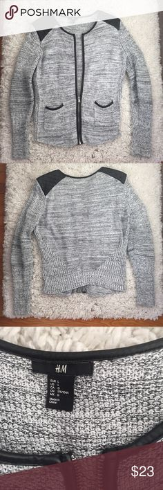 H&M Cotton Zip Up Business Casual Sweater Jacket Faux leather shoulder and detailed design on zipper and pockets. Zip up sweater with 100% cotton material. Grey black mixed coloring. Perfect for over a business casual outfit or night out. Selling because ended up being too big on me. H&M Jackets & Coats
