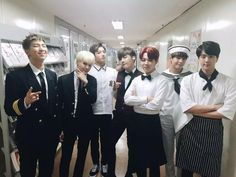 150703 Music Bank // J-Hope - Waiter who workers at a Fancier Resturant than Jimin / Jimin - Waiter/Server / Jin - Chef / Jungkook - School Boy / Rap Monster - Pilot/Captain / Suga - ??? / V - Sailor