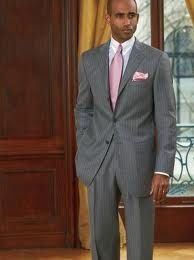 Like this tux dark grey with maybe light grey vest and light pink tie