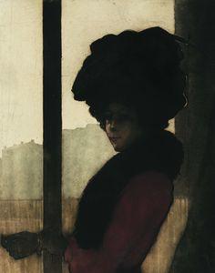 Eugène DELÂTRE - Femme aux gants - 1902 - 25,5 x 32,5 cm - Eau-forte et aquatinte en couleurs