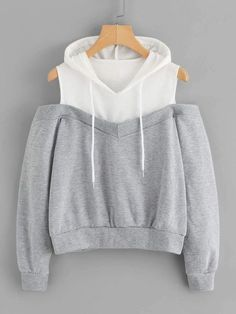 To find out about the Cold Shoulder Color Block Hoodie at SHEIN, part of our latest Sweatshirts ready to shop online today! Teen Fashion Outfits, Mode Outfits, Outfits For Teens, Trendy Outfits, Girl Fashion, Girl Outfits, Fashion Dresses, Ootd Fashion, Sweater Outfits
