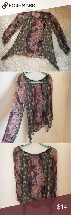 "Language Soft Silky See-Through Blouse Soft and comfortable 100% Silk long sleeved Blouse with elastic around the neckline area as well as the bottom of the sleeves to create a bohemian vibe :-) there are ""draped"" sides to this Blouse as well to give it even MORE of a hippy vibe! Size- XS but will fit S  Length- 28 inches Width- 18/19 inches but stretchy material  If you have any other questions, please don't hesitate to contact me xoxo (willing to bargain) Tops Blouses"