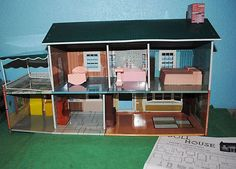 1950s Vintage Marx Metal Miniature Dollhouse Porch Awning Door Opens Furniture~~