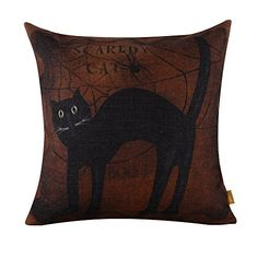 $4.48 + $3.00 shipping  LINKWELL 45x45cm Halloween All Hallows' Eve Black Cat Burlap Cushion Covers Pillow Cases COVER ONLY LINKWELL http://www.amazon.com/dp/B00L6CMZEK/ref=cm_sw_r_pi_dp_HfFwwb1ZC16Q8