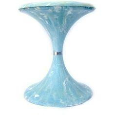 Vintage Marble MCM Mushroom Stool Midcentury Modern Marbleized Blue... ($65) ❤ liked on Polyvore featuring home, furniture, ottomans, blue ottoman, plastic furniture, mcm, blue furniture and marble furniture