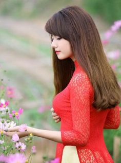 Modern Aodai in mixed of color pants and sheers Aodai in Red Laces Vietnamese Traditional Dress, Vietnamese Dress, Traditional Dresses, Ao Dai, Beautiful Asian Girls, Beautiful People, Vietnam Girl, Sweet Lady, Oriental Fashion