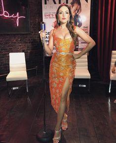 Elizabeth Gillies in Markarian Elizabeth Gillies, Sirius Black, Liz Gilles, Leo Women, Looks Chic, Orange Dress, Film, Business Women, Two Piece Skirt Set