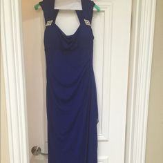 Elegant Royal blue dress Like New! Worn once. Long elegant Royal blue dress. Has a chiffon over lay. Brooch on both sides of the shoulders. Zipper and 2 button closure from the back. Bought at Macy's. Size 6 Xscape Dresses Maxi