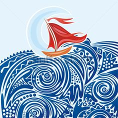 Sea wave and ship vector illustration