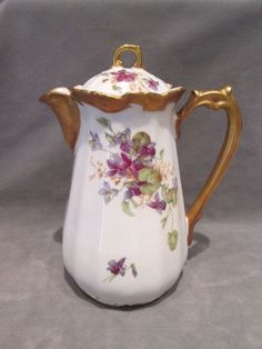 Very beautiful Limoges France Coronet Pattern Porcelain Coffee Pot or Chocolate Pot from France. It is in I would have to say near mint condition.
