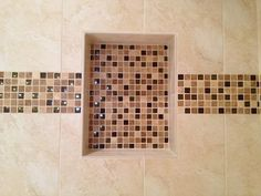 Decorative Tile Strips Double Shower Niche Witn Metal Trim And Decorative Glass Accent