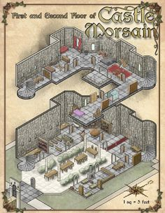 Map of First and Second Floor of Castle Morsain