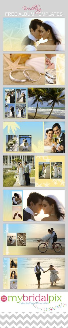 FREE Beach Wedding Album Tempate. Simply drag and drop your images into our ready made templates. We bring pro quality albums direct to brides. www.mybridalpix.com #engagement #wedding #photography #albums #templates