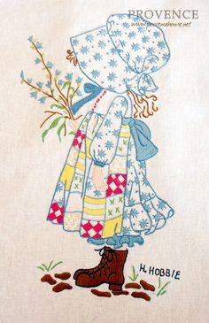 [프랑스 자수-홀리하비 플라워걸] Embroidery Patterns, Vintage Embroidery, Embroidery Applique, Embroidery Stitches, Holly Hobbie, Stuffed Toys Patterns, Sarah Key, Hand Stitching, Dress Making Patterns