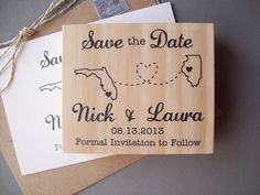 Save the Date Rubber Stamp with Connecting States or Countries, DIY Handmade Wedding on Etsy, $37.95