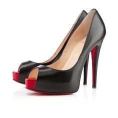 e1daaf51406 Big Discount Christian Louboutin Vendome Peep Toe Pumps Black Red EMP With  Top Material Online Sale For You!