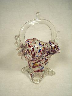 Murano Art Glass Basket Confetti Rare by VintageCeramicsGlass