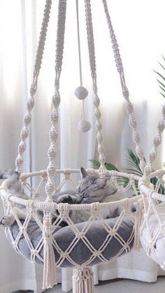 Lit Chat Diy, Diy Cat Bed, Pet Hammock, Hammocks, Macrame Cord, Macrame Jewelry, Boho Wall Hanging, Macrame Design, Pet Furniture