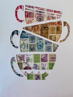 Postage Stamp Art, Encaustic Art, Vintage Stamps, Mail Art, Stamp Collecting, Altered Art, Paper Art, Book Art, Security Envelopes