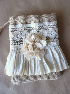 Burlap and Lace Bag Pouch Purse Gift Bag Handmade Fabric Flower Ruffle Flea Market Tote