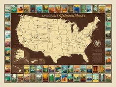 National Parks Poster Cotton panel by Anderson Design Group. For Riley Blake fabrics This listing is for one cotton panel . Each panel has the map of the US and all 61 national parks American National Parks, National Parks Map, National Park Posters, Spring Break Trips, Park Art, Panel Quilts, Quilt Blocks, Us Map, Hand Illustration