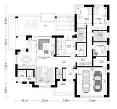 Willa parterowa on Behance Home Building Design, Building A House, House Design Pictures, Outdoor Office, French Country House Plans, 3 Bedroom House, Good House, Dream House Plans, House Layouts