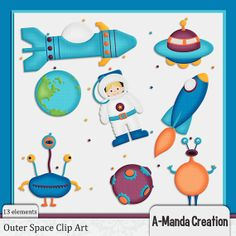 Outer Space Themed Commercial Use Clip Art