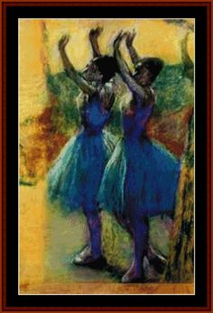Two Blue Dancers - Degas - Cross Stitch Collectibles fine art counted cross stitch pattern