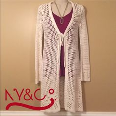 """❄️Cardigan❄️ Beautiful off-white crochet cardigan is in great condition. The cardigan is made of 55% Ramie, 25% acrylic and 20% cotton. The length of the cardi measures approximately 36 1/2"""". Machine washable on the gentle cycle. No Trades   No PayPal New York & Company Sweaters Cardigans"""