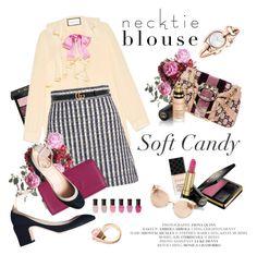 """Fall Trend: Necktie Blouse"" by amaryllis ❤ liked on Polyvore featuring Gucci, Miu Miu, Deborah Lippmann, Linda Farrow, valentino, gucci, miumiu and necktieblouse"