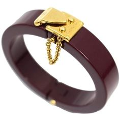 Pre-owned Louis Vuitton Lock Me Bangle Bracelet ($399) ❤ liked on Polyvore featuring jewelry, bracelets, accessories, red wine, louis vuitton jewelry, red jewelry, hinged bracelet, bangle jewelry and lock jewelry