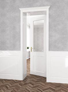 Dveře Verona s okrasnou římsou a pískovanými motivy ve skle. Kazetové dělení dveří je variabilní, ať už je dveřní křídlo plné nebo proložené sklem.