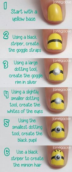 DIY nail art. Minion nails are so cute. They turned out great on my nails, just a little messy. I recommend using nail art pens.