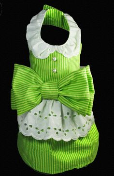 Couture Dog Harness Dress Green and white by tinypawscouture, $75.00