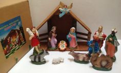 Vintage Nativity Scene Set 12 Pieces Large Size Composition with Box Japan | eBay