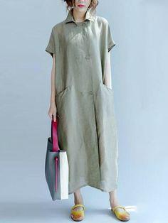 Women Casual Short Sleeve Turn Down Collar Long Shirt Dress - Banggood Mobile Linen Dresses, Women's Dresses, Casual Dresses, Chiffon Dresses, Fall Dresses, Dresses Online, Fashion Dresses, Bridesmaid Dresses, Formal Dresses