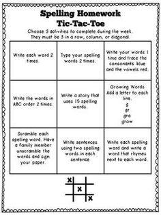 Weekly Spelling Homework Tic-Tac-Toe