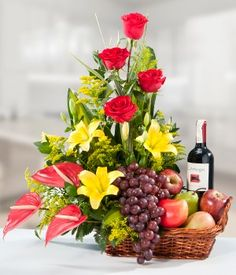 Get best price flowers for Oman offers same day flower delivery for Oman at very low rates. We send flowers to all cities and all flowers are delivered at right time. Fruit Flower Basket, Hanging Flower Baskets, Flower Boxes, Modern Flower Arrangements, Edible Arrangements, Online Flower Delivery, Ikebana, Flower Decorations, Flower Designs