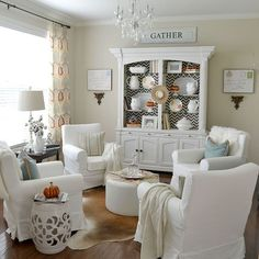 The 4 Chair arrangement is perfect for the bay area of the dining room turned Quiet Room.