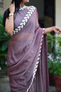 Buy Mauve Pearl Work Silk Chiffon Saree - Women Sarees Online in India Simple Sarees, Trendy Sarees, Fancy Sarees, Sari Design, Sari Blouse Designs, Ethnic Outfits, Indian Outfits, Silk Chiffon, Plain Chiffon Saree