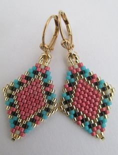 This earrings pattern is my own creation - Copyright 2016 - Patti Ann McAlister  These petite & lightweight beadwoven earrings are handmade with Miyuki Duracoat galvanized light cranberry matte, turquoise, black, matte bone, & golden delica seed beads.  They measure 1-3/4 long including the plated leverback earwires & 3/4 wide.