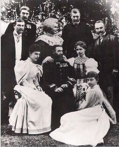 "carolathhabsburg:"" King Carol I with consort Elisabeth aka Carmen Sylva surrounded by Duchess Charlotte of Saxe Meiningen (left) her daughter, Princess Feodora of Saxe Meiningen (sitting on the ground), Crown Princess Marie (right), his nephew. Romanian Royal Family, German Royal Family, Queen Victoria Family, Princess Victoria, Princess Alexandra, Princess Charlotte, Queen Mary, King Queen, Michael I Of Romania"