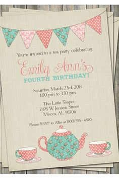 Tea party invitations on etsy