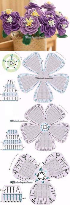 Watch The Video Splendid Crochet a Puff Flower Ideas. Wonderful Crochet a Puff Flower Ideas. Crochet Puff Flower, Crochet Flower Tutorial, Crochet Lace Edging, Unique Crochet, Crochet Flower Patterns, Crochet Diagram, Thread Crochet, Irish Crochet, Crochet Yarn