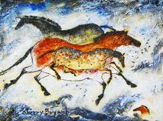 Three Horses cave art painting by noted wildlife artist Sherry Bryant Art Pariétal, Paleolithic Art, Art Rupestre, Cave Drawings, Equine Art, Aboriginal Art, Horse Art, Native American Art, Cave Painting