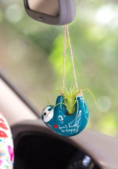 This Natural Life Sloth Mini Hanging Succulent features a life-like faux succulent in an adorable handmolded ceramic pot featuring gold details. Shop Now! Hanging Succulents, Faux Succulents, Cute Car Accessories, Car Hanging Accessories, Car Essentials, Deco Boheme, Car Hacks, Jeep Hacks, Gadgets