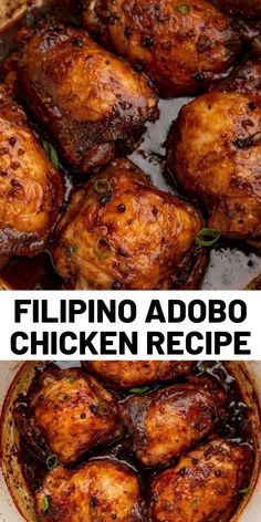 Adobo Chicken is a classic Filipino recipe cooked in soy sauce, garlic, vinegar and peppercorns that makes the most delicious braised chicken ever. Food Recipes For Dinner, Food Recipes Deserts Yummy Chicken Recipes, Yum Yum Chicken, Turkey Recipes, Meat Recipes, Asian Recipes, Mexican Food Recipes, Cooking Recipes, Cooking Food, Recipies